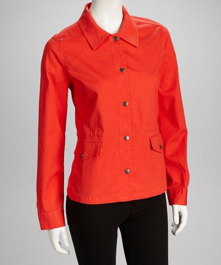 Orange Button-Up Jacket – Women