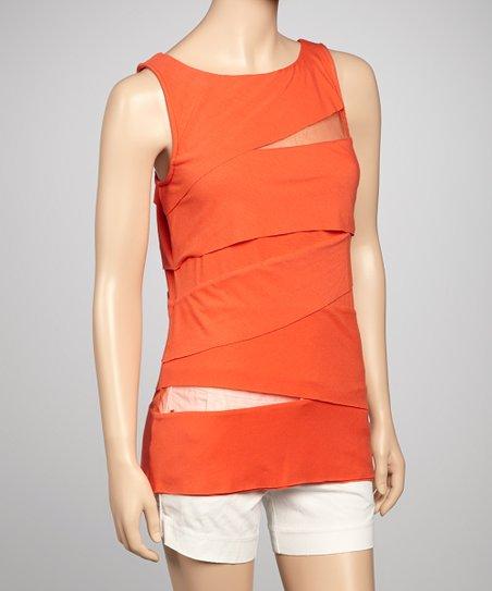 Red Mesh Cutout Sleeveless Top – Women