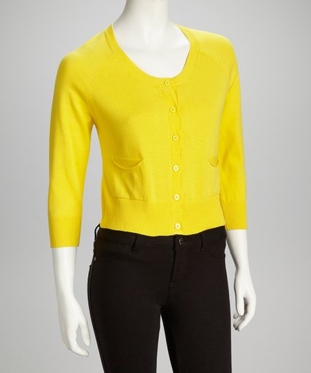 Yellow Scoop Neck Cardigan