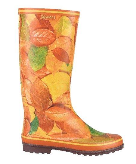 Orange & Yellow Leaves Carelie Rain Boot – Women