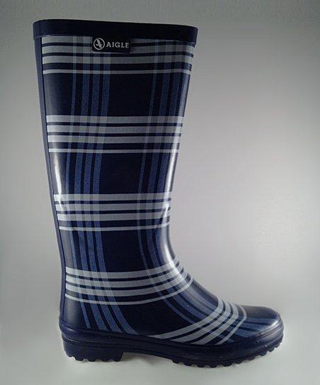 Blue Mesh Polka Rain Boot – Women