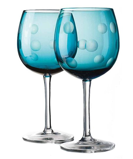 Home Essentials Blue Dot Goblet - Set of Four