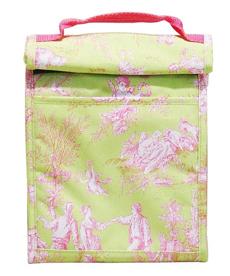 Home Essentials Lime French Toile Roll-Down Lunch Tote
