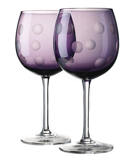 Home Essentials Purple Dot Goblet - Set of Four