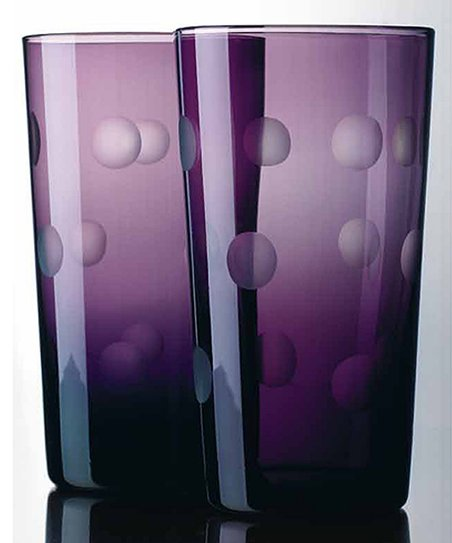 Home Essentials Purple Dot Highball Glass - Set of Four
