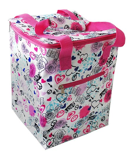 Home Essentials Pink Peace & Love Oversized Lunch Tote