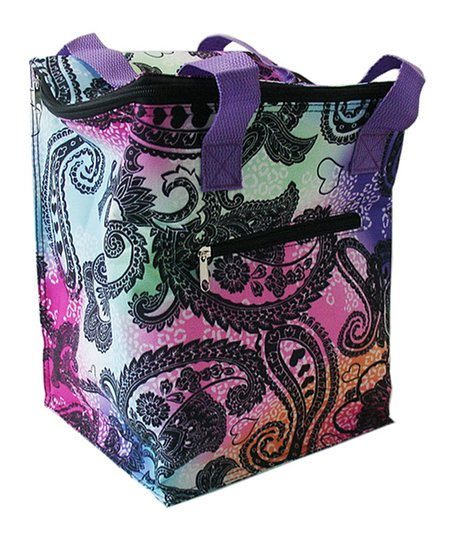 Home Essential Purple Tie-Dye Paisley Oversized Lunch Tote