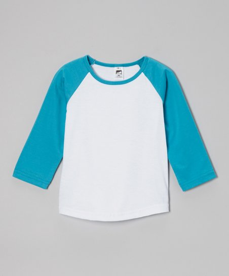 Aqua & White Raglan Tee – Toddler & Boys