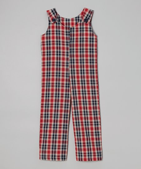 Black & Red Plaid Overalls – Toddler & Boys