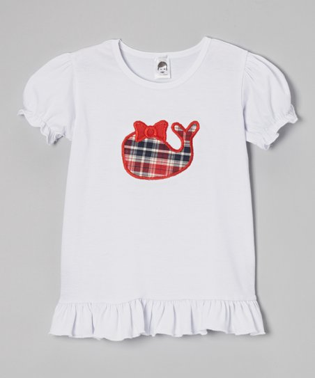 White Plaid Whale Puff-Sleeve Tee – Toddler & Girls
