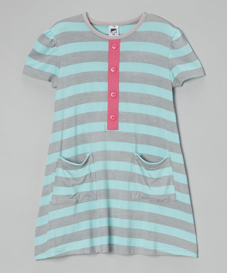Blue & Gray Stripe Dress – Toddler & Girls