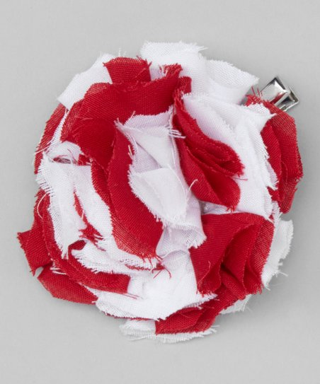 Red Stripe Shabby Flower Clip