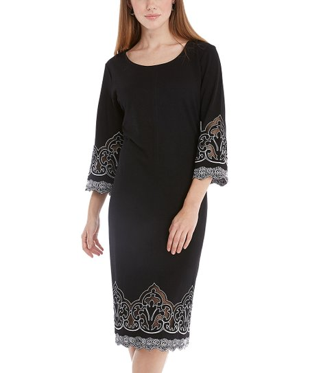 Black & White Arabesque Shift Dress - Women & Plus