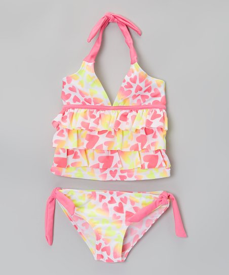 Pink & Yellow Heart Tankini – Infant & Toddler
