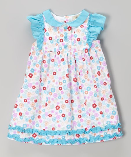 Blue & Pink Floral Angel-Sleeve Dress – Infant & Toddler