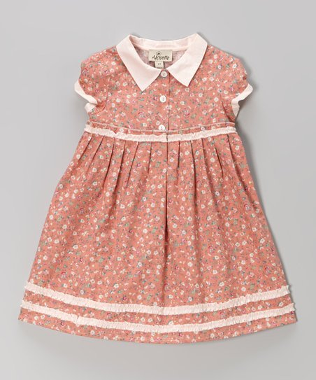 Mauve & Pink Floral Babydoll Dress – Toddler & Girls