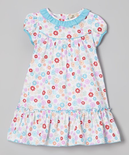 Pink & Blue Floral Drop-Waist Dress – Infant & Toddler