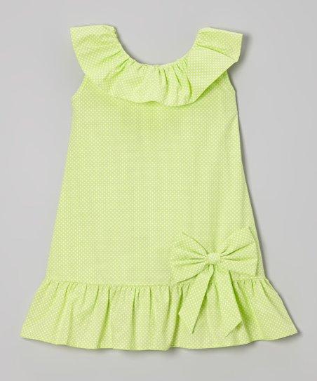 Lime Green Polka Dot Yoke Dress – Infant, Toddler & Girls