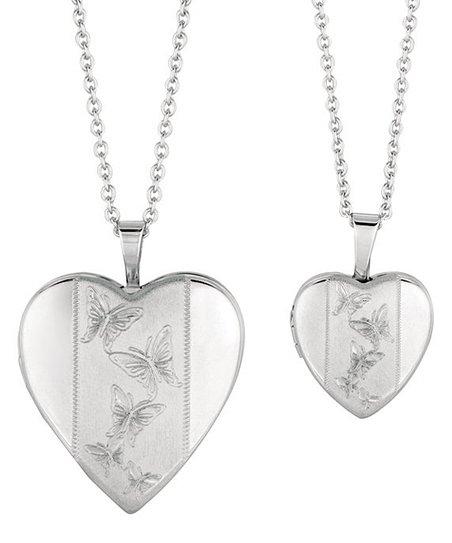 Silver Framed Butterfly Heart Locket Set