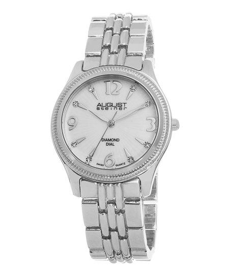 Silver Diamond Dial Link Watch