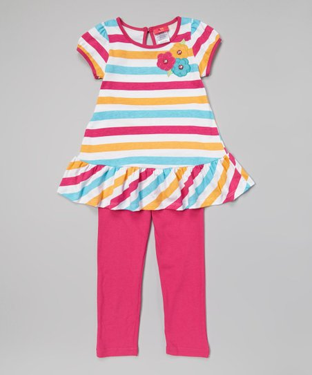 Fuchsia Stripe Flower Tunic & Leggings - Infant, Toddler & Girls