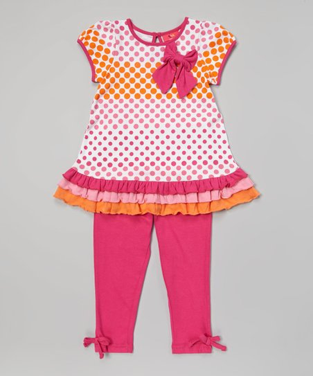 Fuchsia Polka Dot Drop-Waist Tunic & Leggings - Infant & Toddler