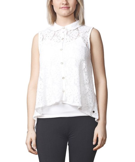 Cream Sheer Lace Button-Up Hi-Low Top