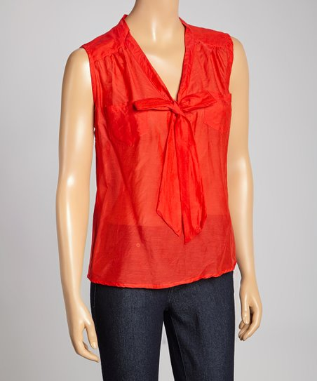 Orange Silk-Blend Tie-Neck Top