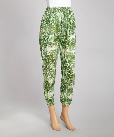 Green Paisley Tie-Waist Pants