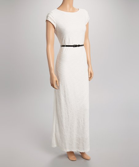 Ivory Wave Belted Cap-Sleeve Maxi Dress
