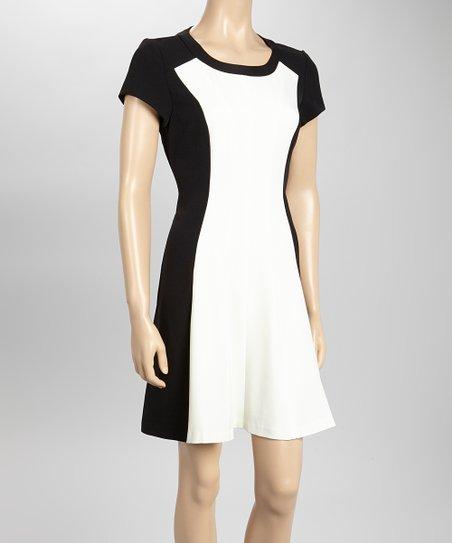 Ivory & Black Color Block Cap-Sleeve Dress