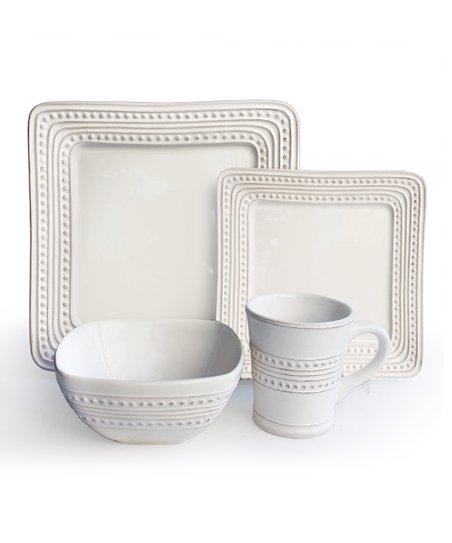 Bianca Dots Square 16-Piece Dinnerware Set