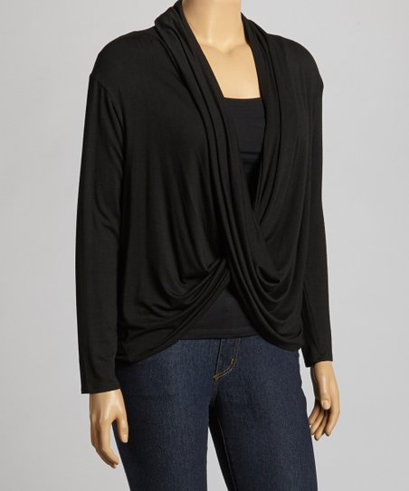 Black Drape Top - Plus