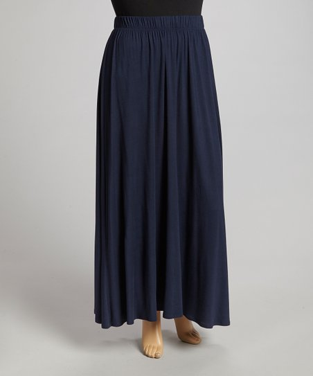 Navy Maxi Skirt - Plus