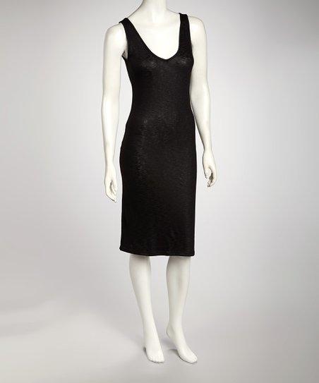 Black Knit Fitted Tank Dress - Women