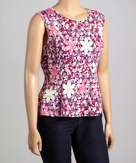 Fuchsia Floral Cap-Sleeve Top - Plus