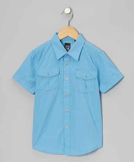 Pastel Blue Woven Button-Up - Boys