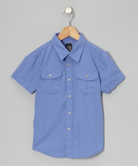 Periwinkle Woven Button-Up - Boys