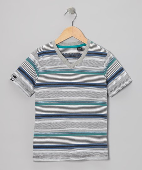 Black & Gray Stripe V-Neck Tee - Boys