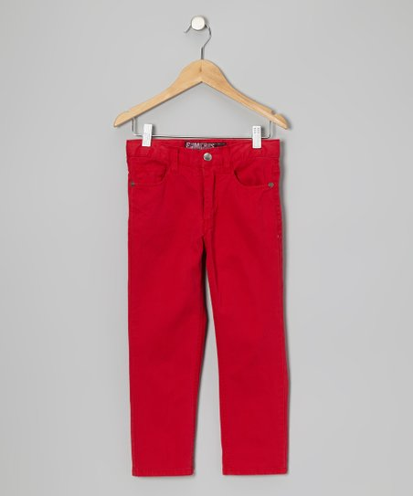 Red Five-Pocket Pants - Boys