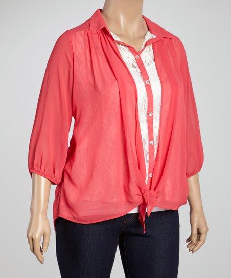 Coral Lace Tie-Front Button-Up Top - Plus