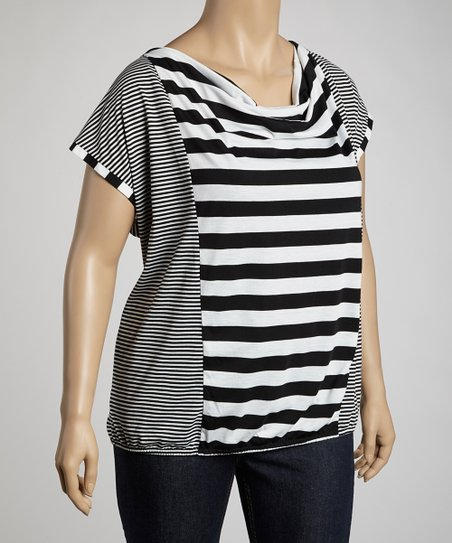 Starlight White & Black Stripe Dolman Top - Plus