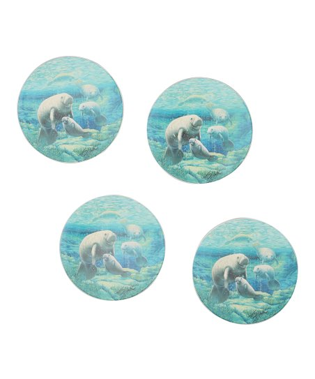 CounterArt Manatee Sanctuary Coaster - Set of Four