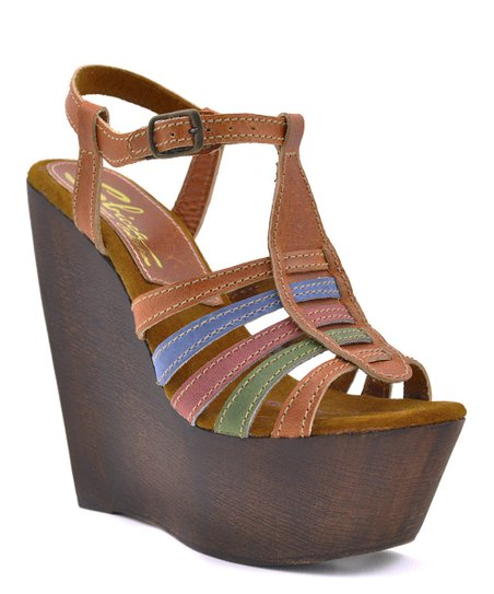 Red & Brown Basalt Wedge Sandal