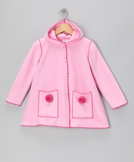 Pink Fleece Rosette Coat - Infant, Toddler & Girls
