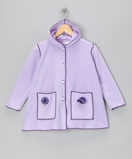 Purple Fleece Rosette Coat - Toddler &amp; Girls
