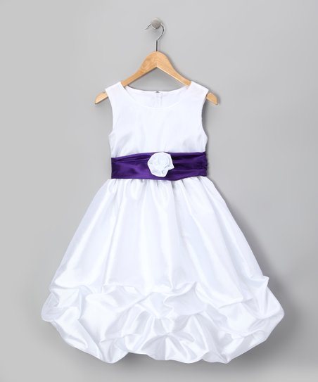 White & Purple Rosette Pickup Dress - Infant, Toddler & Girls