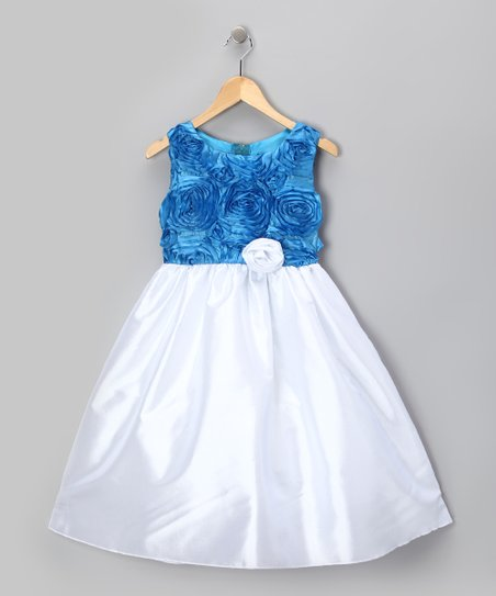 Blue & White Rosette Dress - Infant, Toddler & Girls