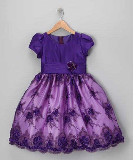 Royal Purple Organza Flower Dress - Infant, Toddler & Girls