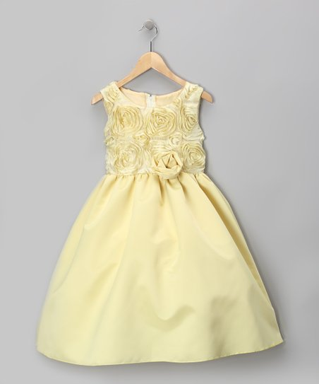 Lemon Cream Rosette Dress - Infant, Toddler &amp; Girls